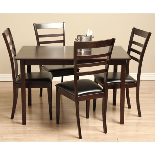 Leather Dining Set: Crystal Wood And Leather Dining Set