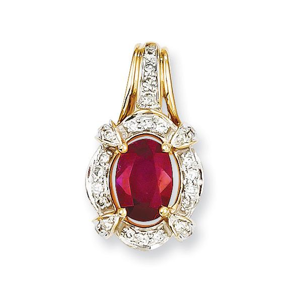 14k yellow gold ruby diamond pendant ruby diamond pendant 1 aloadofball Images